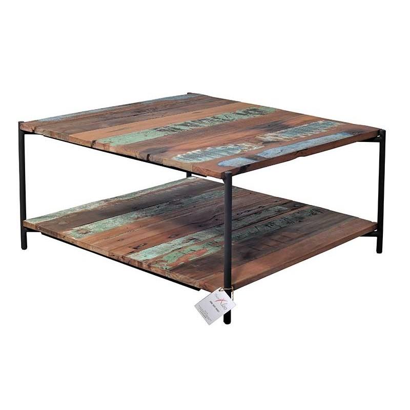 Table basse bois bateau recycle - Table basse carree bois ...