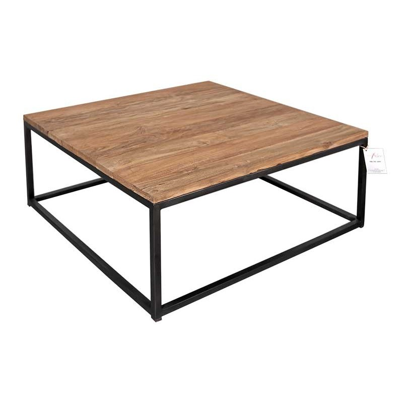 Table basse carr ibiza en m tal et teck recycl massif for Table basse teck massif