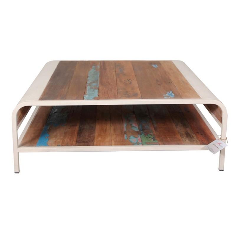 Table Basse Carr E En M Tal Et Bois De Bateau Recycl
