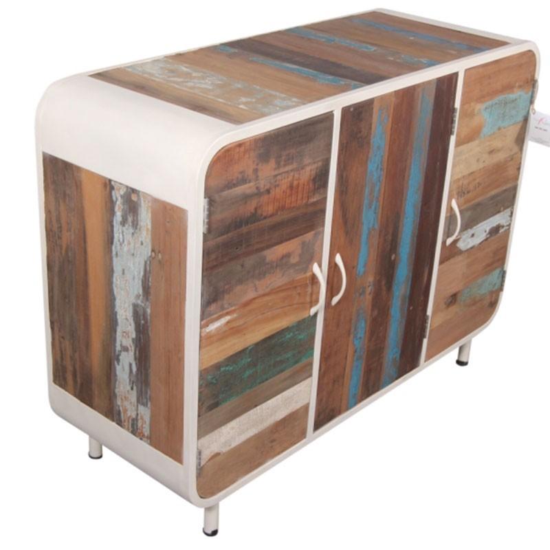 buffet industriel vintage alaska blanc 120 cm 3 portes. Black Bedroom Furniture Sets. Home Design Ideas