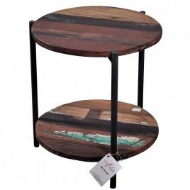 N° 1.4 A59 - Bout de canapé rond BATIK bois de bateau recyclé