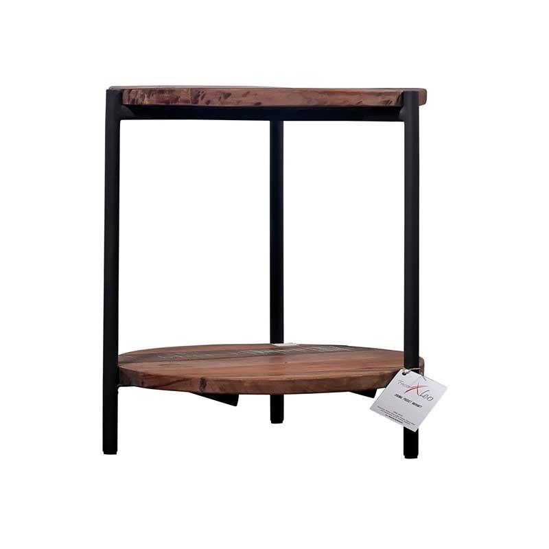 Bout de canap rond en m tal et bois de recycl livraison - Bout de canape metal et bois ...