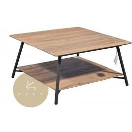 N° 2.4 A59 - Table basse carrée Louvre en métal et teck recyclé