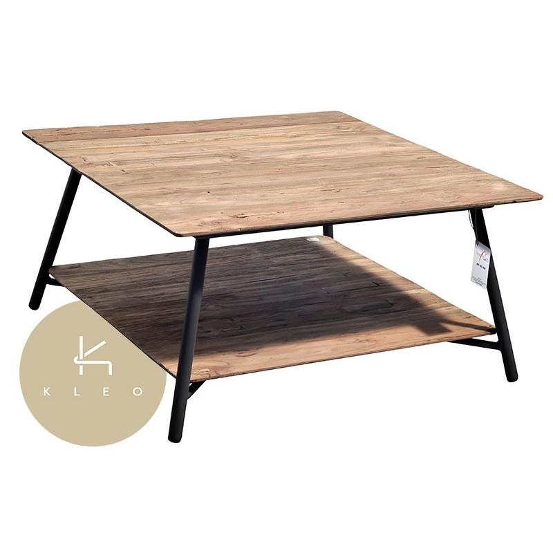 Table basse carr e en m tal et teck massif recycl louvre - Table basse carree teck ...
