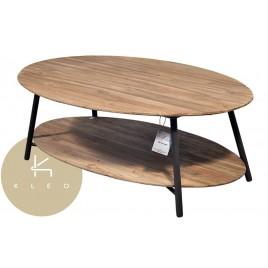 N° 1.4 A59 - Table basse ovale Louvre 2 plateaux en teck recyclé