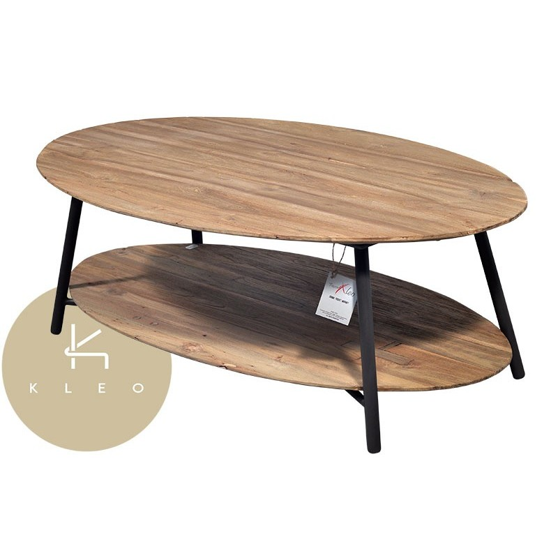 table basse ovale en m tal et teck massif recycl louvre. Black Bedroom Furniture Sets. Home Design Ideas