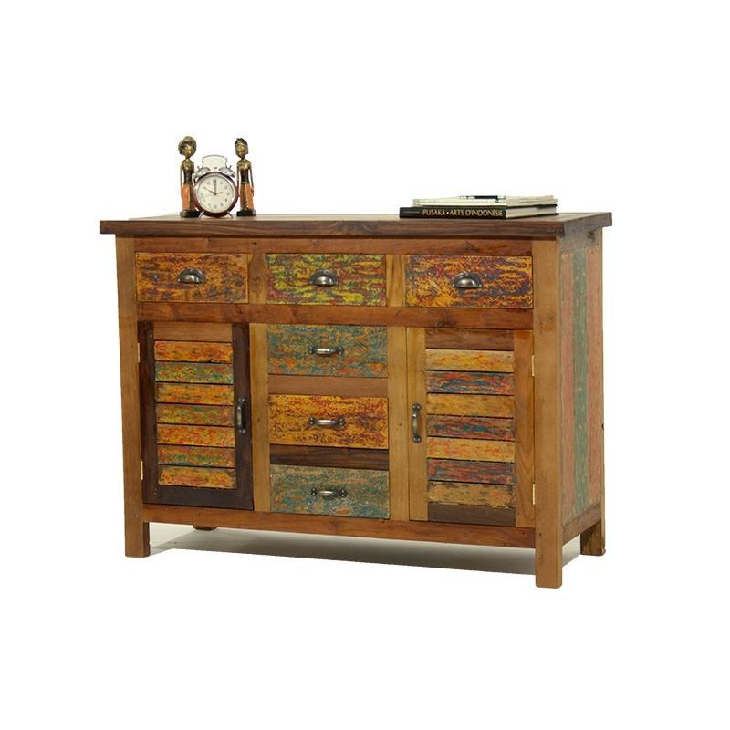 Buffet 2 portes 3 tiroirs en bois recyclé coloré BOOGIE