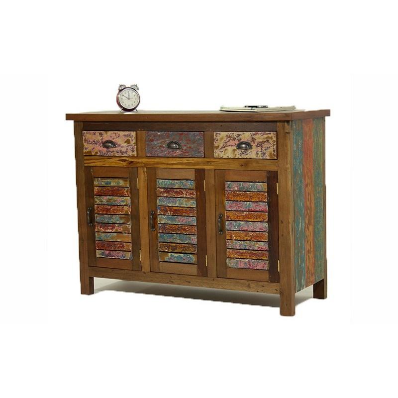 buffet 3 portes 3 tiroirs en bois recycl color boogie. Black Bedroom Furniture Sets. Home Design Ideas