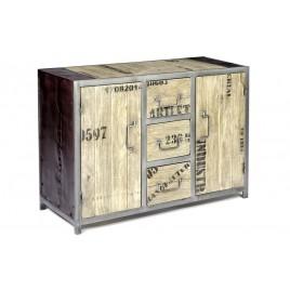 Buffet Industriel Ego 2 portes 3 tiroirs fer et bois