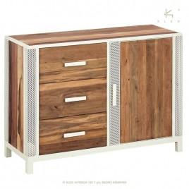 Buffet industriel 120 cm CHIC 1 porte 3 tiroirs métal et bois recyclé