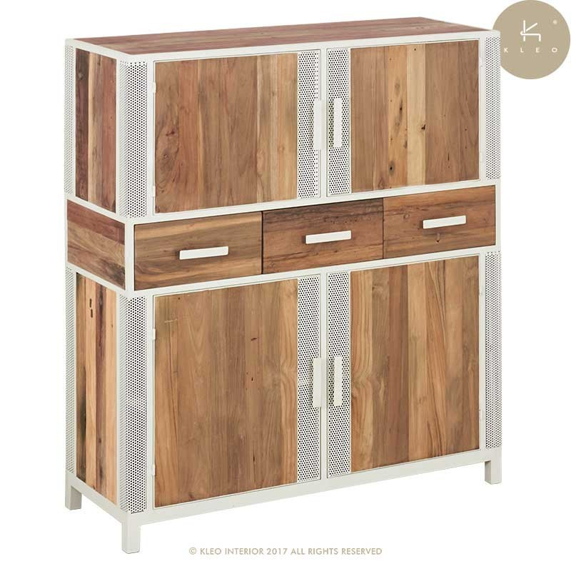 buffet haut industriel 4 portes 3 tiroirs en m tal et bois de teck recycl livraison gratuite. Black Bedroom Furniture Sets. Home Design Ideas