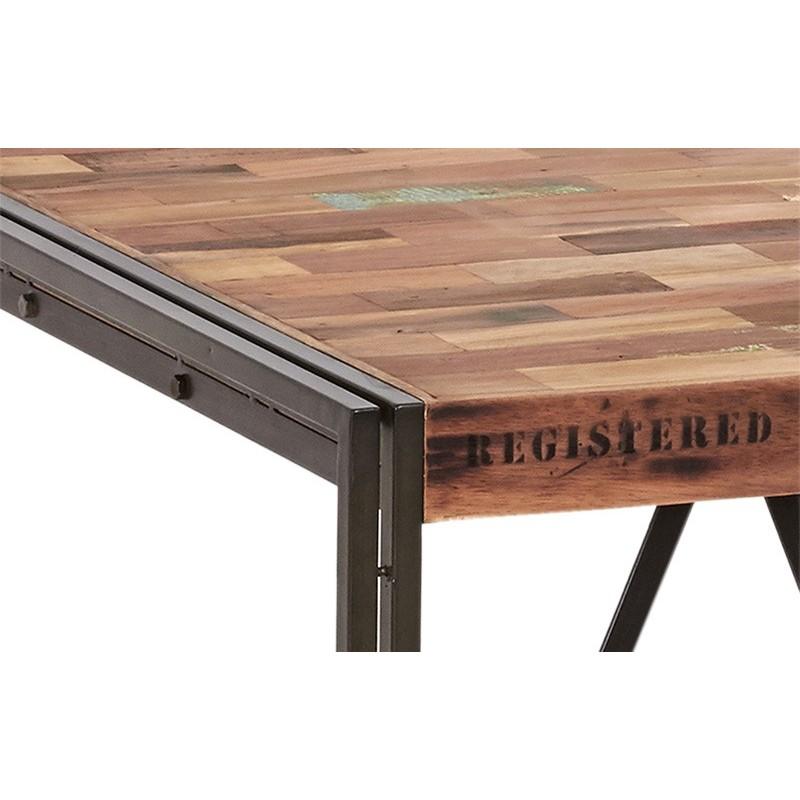 ensemble industriel table haute carr 233 et 4 tabourets fer et bois