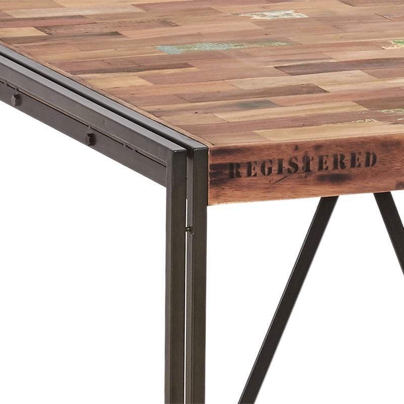 ensemble industriel table haute carr et 4 tabourets fer et bois. Black Bedroom Furniture Sets. Home Design Ideas