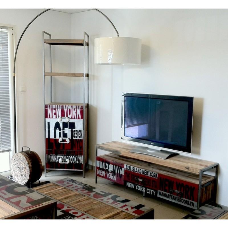 Meuble tv loft en fer et bois de bateau recycl for Meuble tv loft industriel