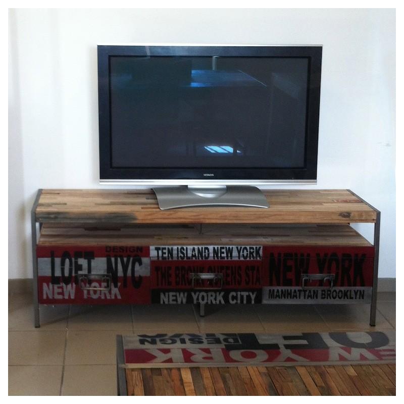 Meuble Tv Urban Acacia : Pin Meuble Tv Industriel 3 Tiroirs Urban Samudra On Pinterest