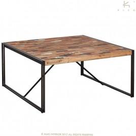 N° 1.3A72 -Table repas industrille carrée fer et bois de bateau recycle