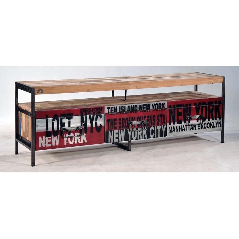 Meuble Tv Bois Et Fer : Meuble Tv Loft 3 Tiroirs Déco New York