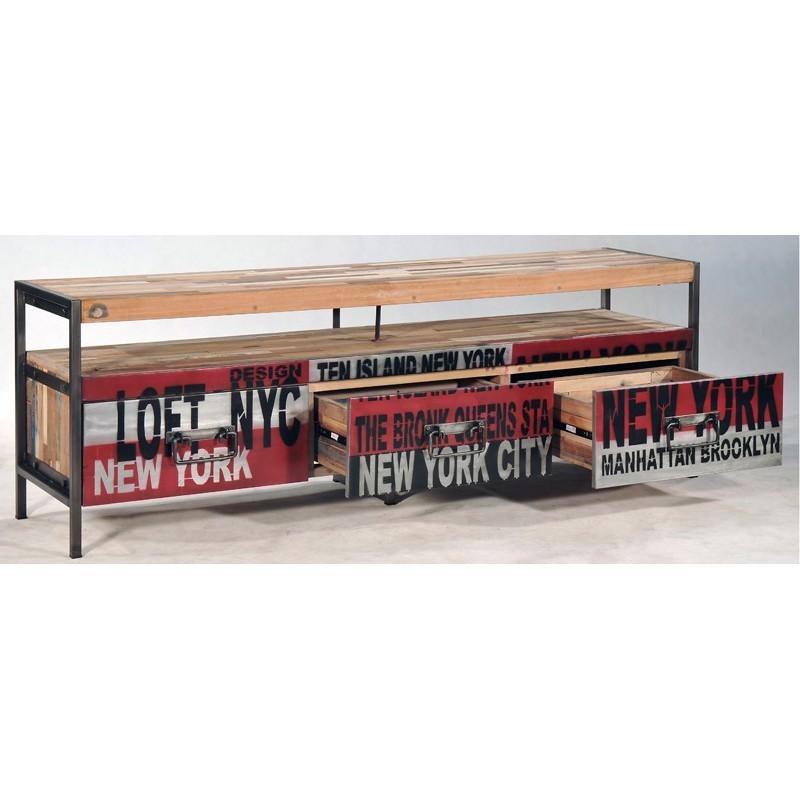Meuble Tv Bois Fer : Meuble Tv Loft 3 Tiroirs Déco New York
