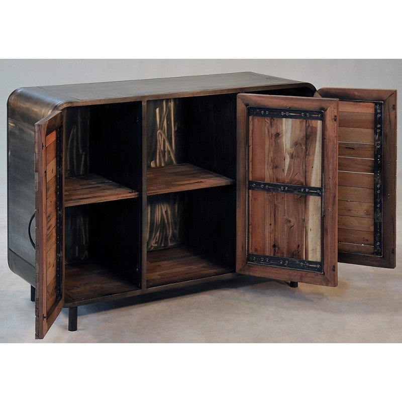 buffet 3 portes industriel vintage fer et bois de bateau recycl. Black Bedroom Furniture Sets. Home Design Ideas
