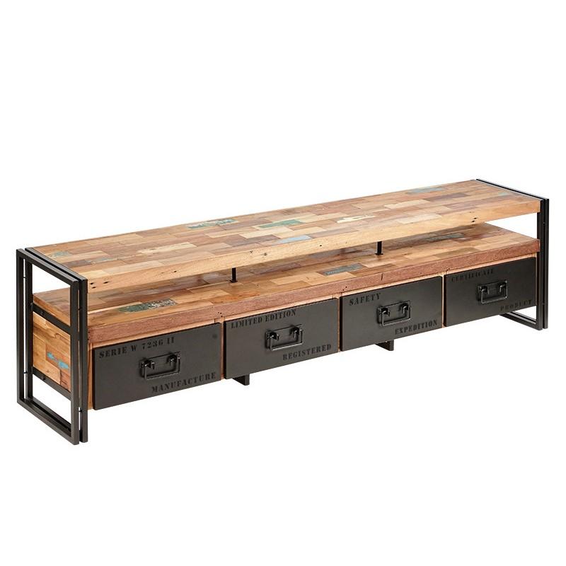 Meuble TV industriel Factory Samudra 4 tiroirs fer et bois de bateau recyclé