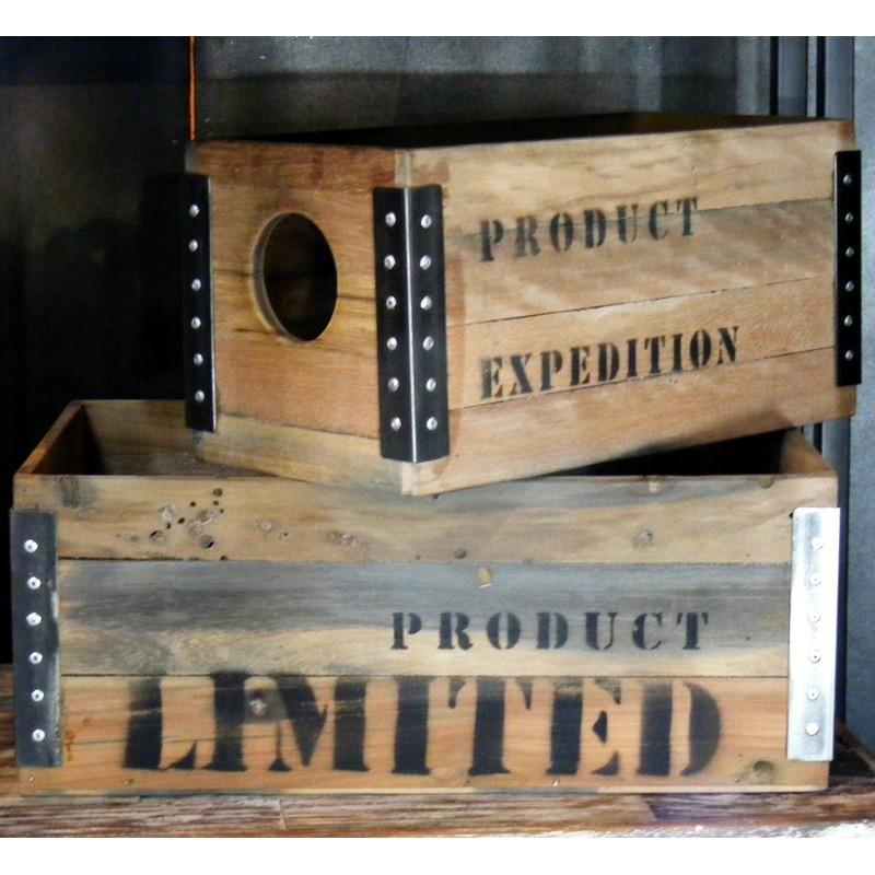 set de 2 caisse à CD en bois de palette recyclé en vente ...