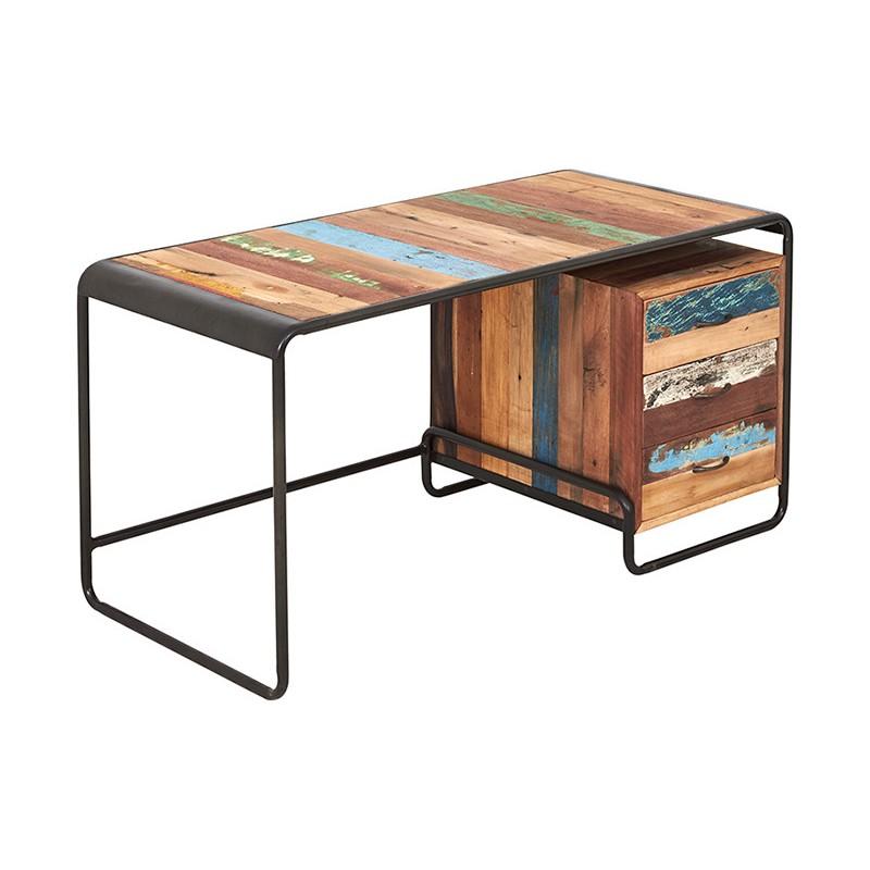 Bureau Industriel 3 tiroirs Rétro fer dépoli et planches de bois de bateau recyclé