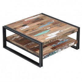 Table de basse style indus métal et bois recyclé