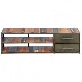 Meuble TV industriel Drum 2 tiroirs 160