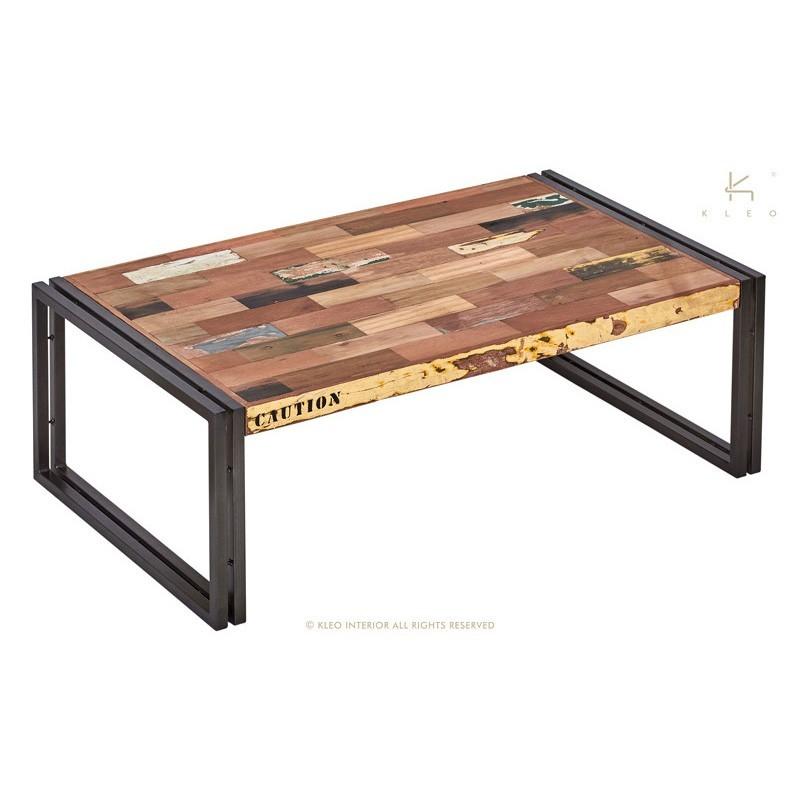 Table basse rectangulaire fer dépoli et lattes de bois de bateau recyclé