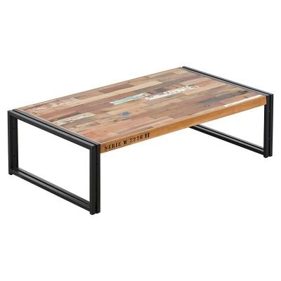 Table basse rectangulaire fer et lattes de bois de bateau recyclé