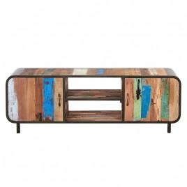 Meuble TV 160 cms fer et planches de bois de bateau recyclé