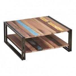Table basse métal et bois de bateau