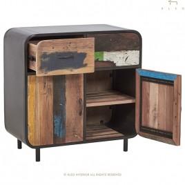 Buffet industriel Vintage 2 portes 2 tiroirs  fer et de bois de bateau recyclé