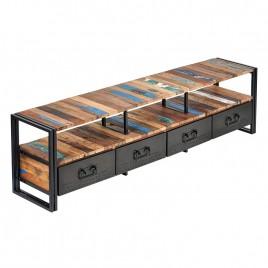 Meuble TV industriel 4 Tiroirs Urban Samudra fer et bois recyclé