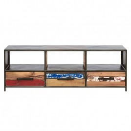 meuble TV industriel Drum 3 tiroirs bidons et bois recyclé