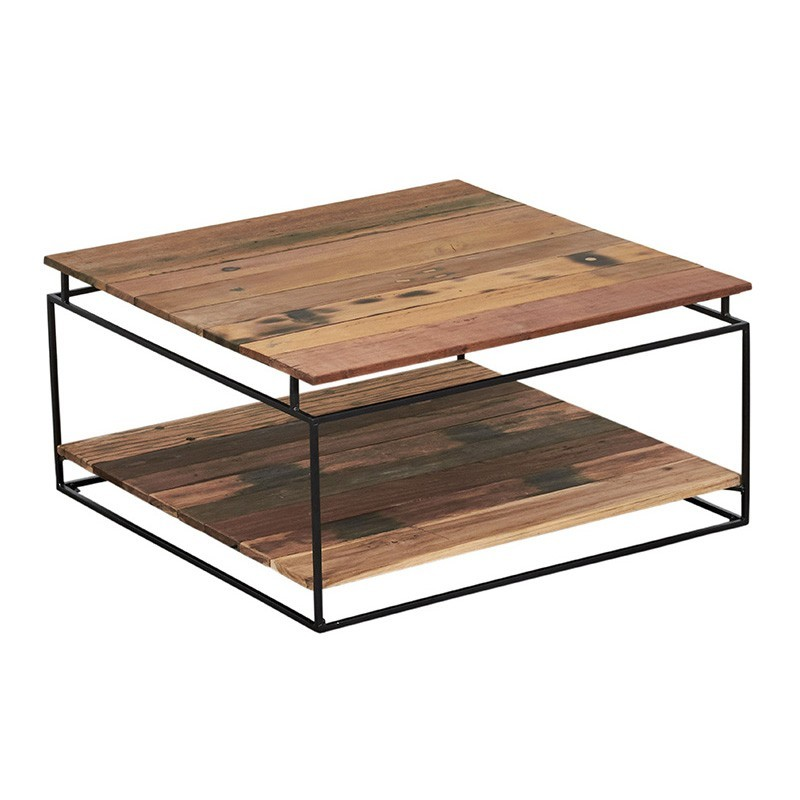 Table basse carrée 2 plateaux Nako 80 cm