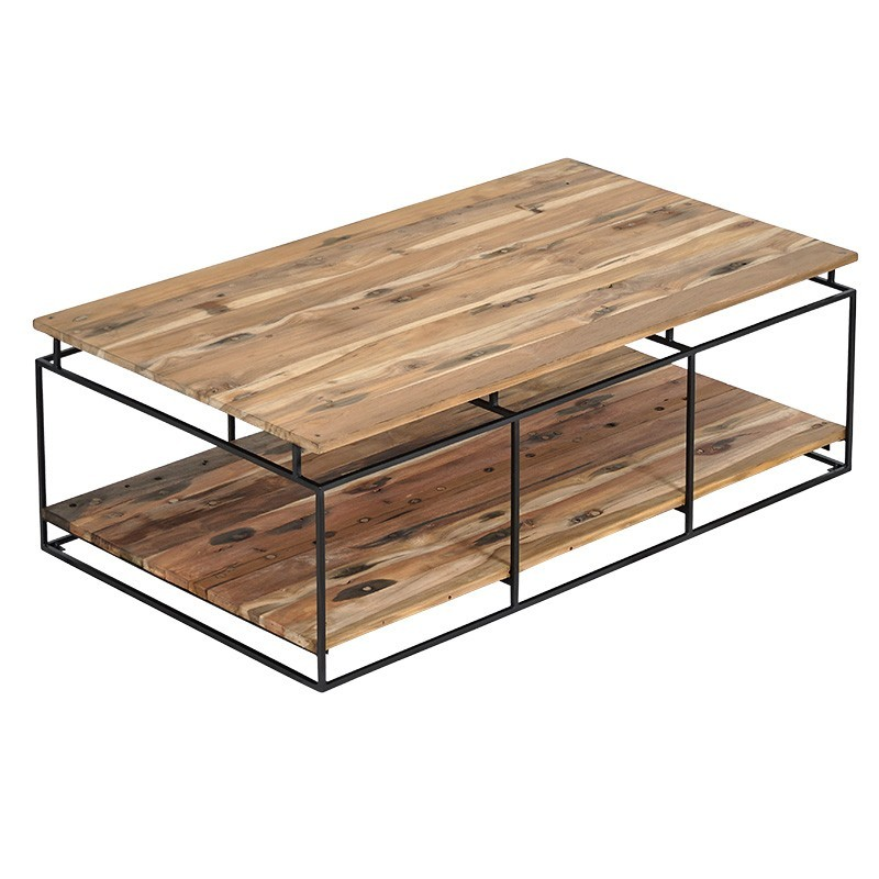 Table basse rectangulaire 2 plateaux Nako 120 cm