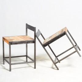 Chaise industrielle fer et bois bois de bateau recycle