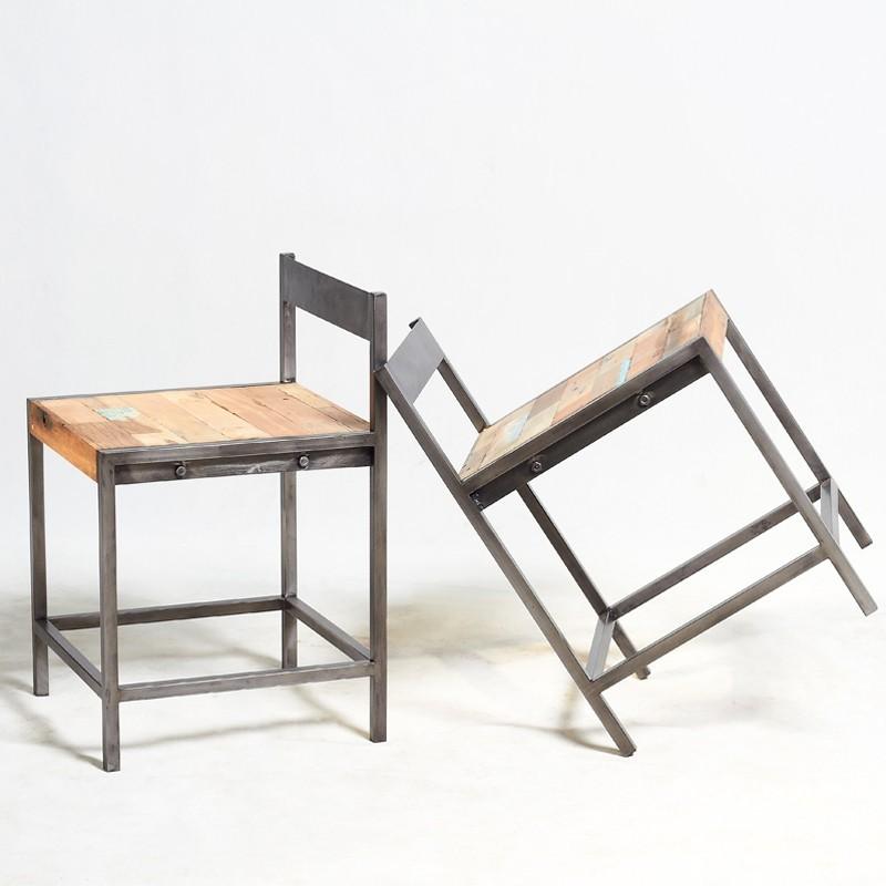 Chaise basse fer et bois bois de bateau recycle