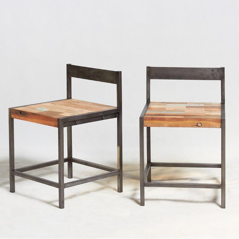 Chaise industrielle fer et boisen vente chez orign 39 s maison - Reparation chaise en bois ...