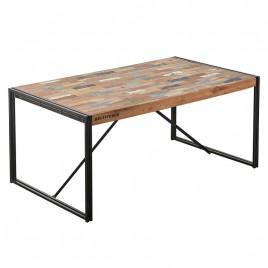 Table repas industrielle fer forgé et bois recyclé
