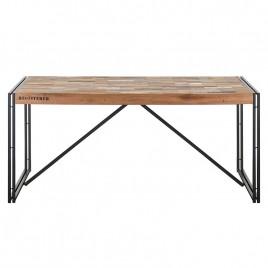 N°2.5AK23 - Table repas industrielle fer forgé et bois recyclé