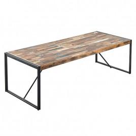 N°4.4AK24 - Table repas FACTORY industrielle 250 fer et bois de bateau recycle