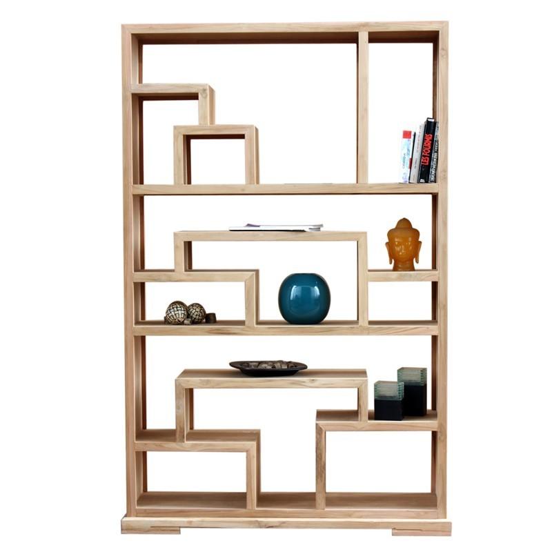 biblioth que d structur e zen en bois de teck. Black Bedroom Furniture Sets. Home Design Ideas