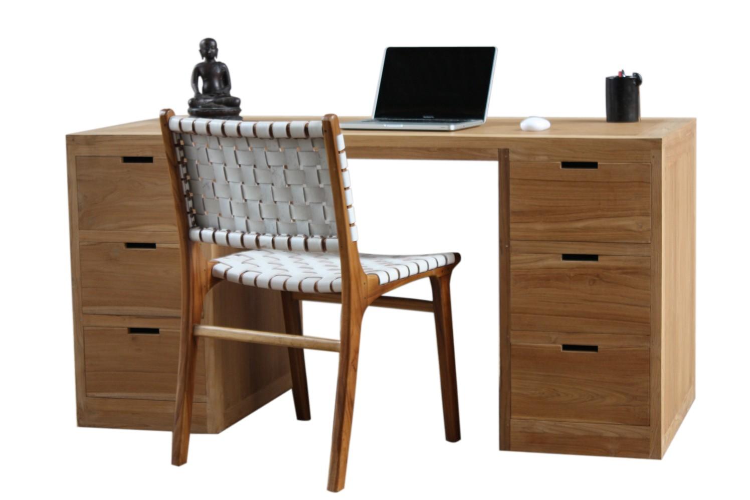 Bureau design en teck 6 tiroirs city. livraiosn et retour gratuits.