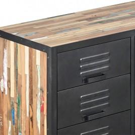 N°2.5AK25 - Buffet Industriel INDUSTRY fer et bois de bateau recycle