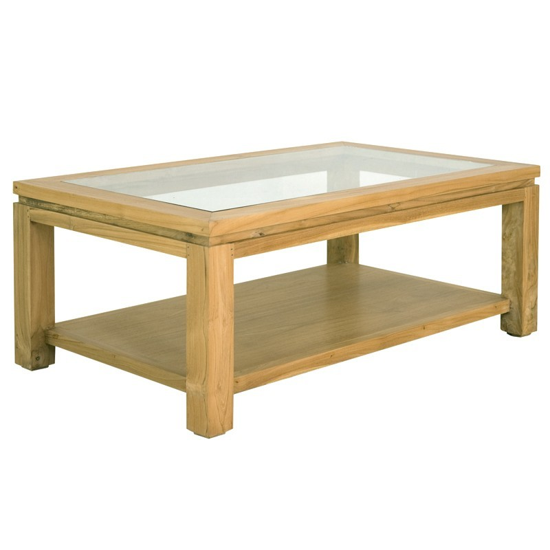 Table basse moderne en teck massif en vente chez origin 39 s for Table basse teck et verre