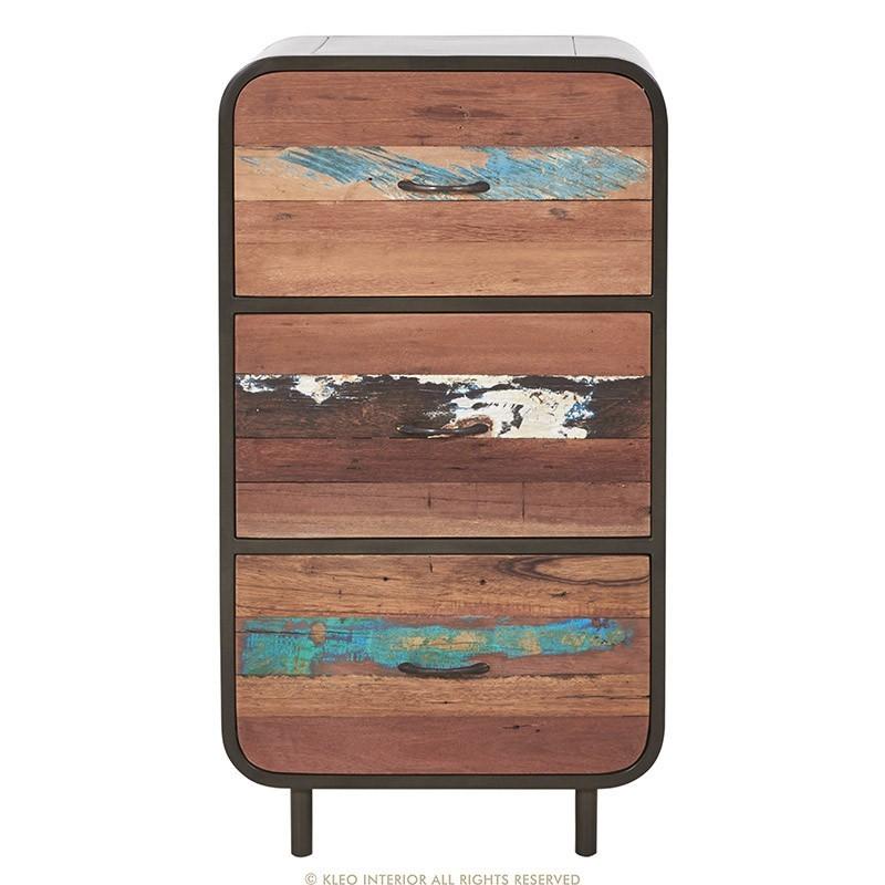 Buffet haut 3 tiroirs industriel fer et bois recyclé