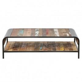 N°2.10AK24 - Table basse Industrielle Vintage fer et de bois de bateau recycle
