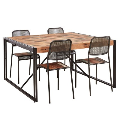 Table repas carrée  fer dépoli et lattes de bois de bateau recyclé
